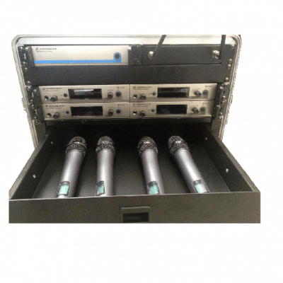 rack of 4 hand held radio microphones to rent